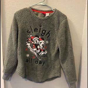 Disney Christmas sweatshirt Mickey Minnie fuzzy